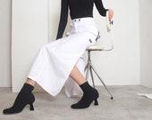 90s white raver maxi cargo skirt xs