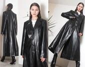 90s black floor length pvc pleather futuristic coat