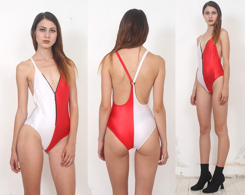 red white color block zip up racer back swimsuit xs s