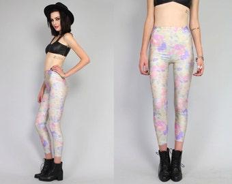 Vtg 90s Floral Abstract Pastel High Waist Spandex Leggings Pants S M