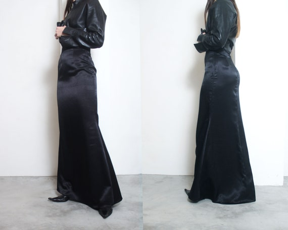 black satin mermaid floor length skirt