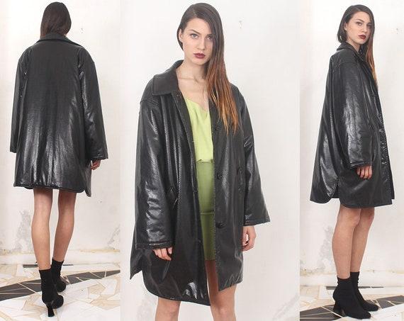 90s black pvc snake skin oversized pleather coat