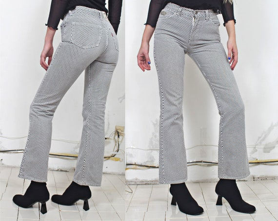90s b&w checkered monochromatic bells jeans