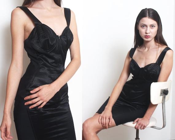90s gaultier corset girdle bustier slip mini dress