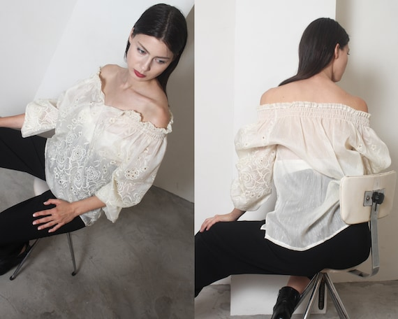 70s sheer organza floral embroidered boho top m