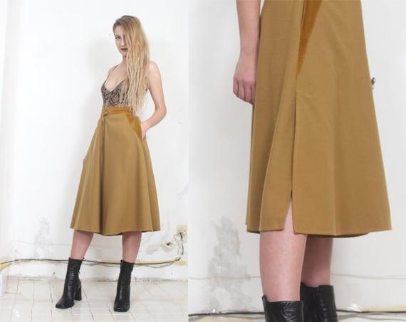 80s mustard yellow wool wide leg pants s