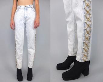 Vtg 80s 90s  Acid Stone Wash Gold Chain High Waist Jeans Pants  S M