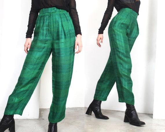 80s green plaid linen high waist trousers pants - image 4