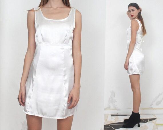 90s minimal pearl satin white mini dress s