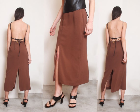 90s brown slits minimal maxi skirt