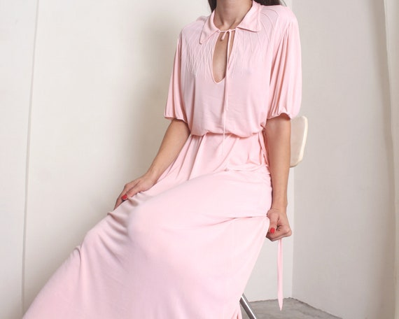 30s pastel pink maxi night gown dress set