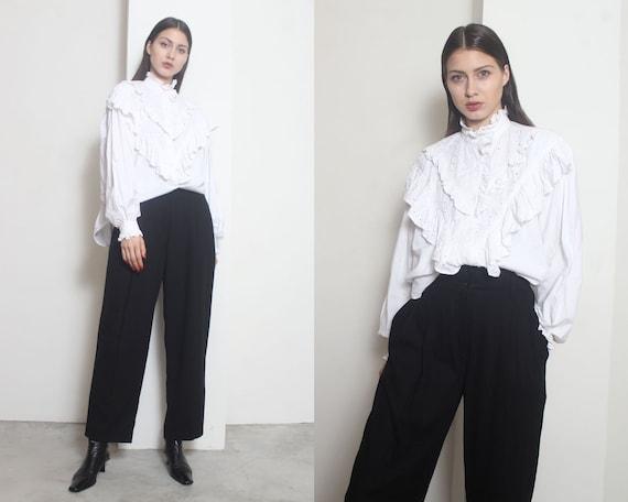 white ruffle blouse os - image 2