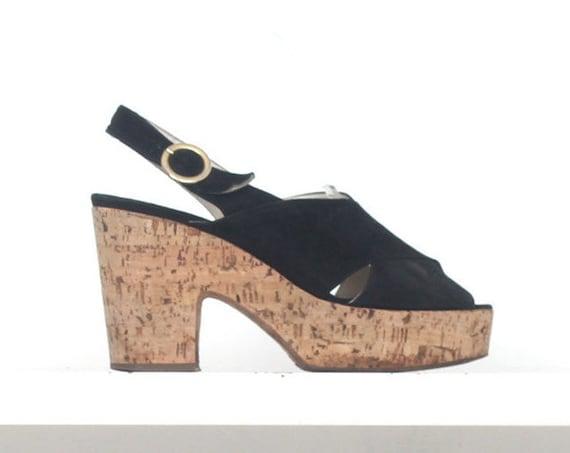 70s black suede leather cork platform sandals