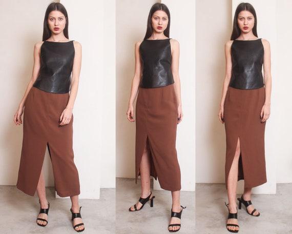 90s brown slits minimal maxi skirt - image 4