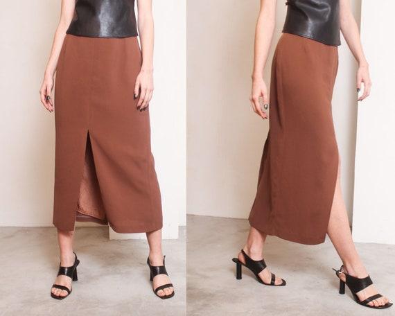 90s brown slits minimal maxi skirt - image 2