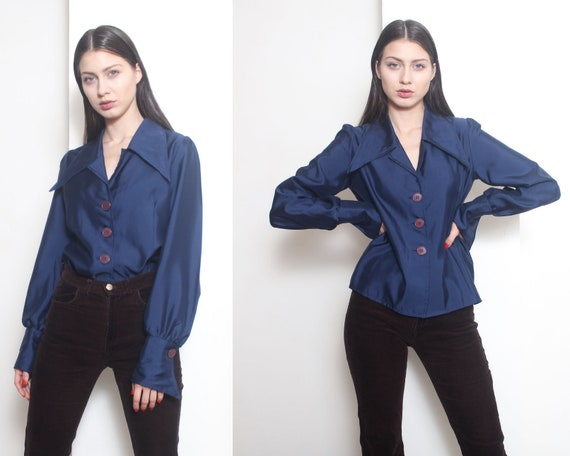 70s blue dagger collar blouse shirt