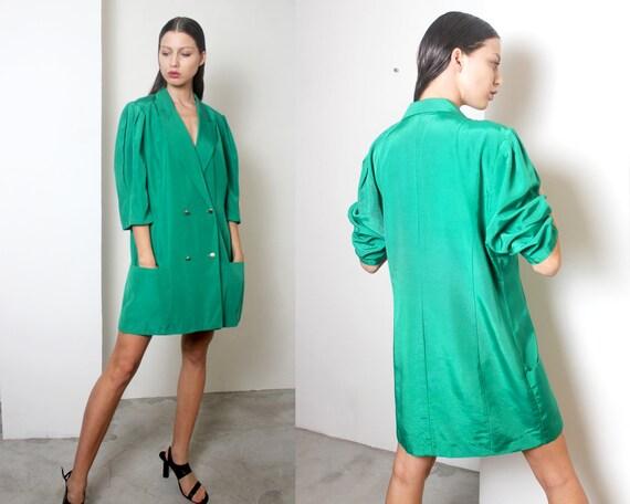 90s minimal kelly green blazer mini dress L