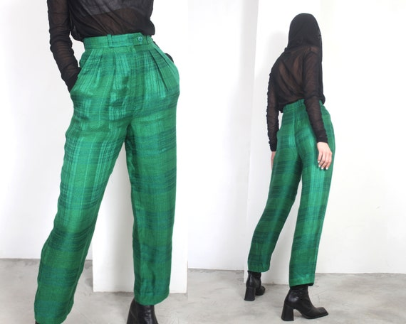 80s green plaid linen high waist trousers pants - image 1