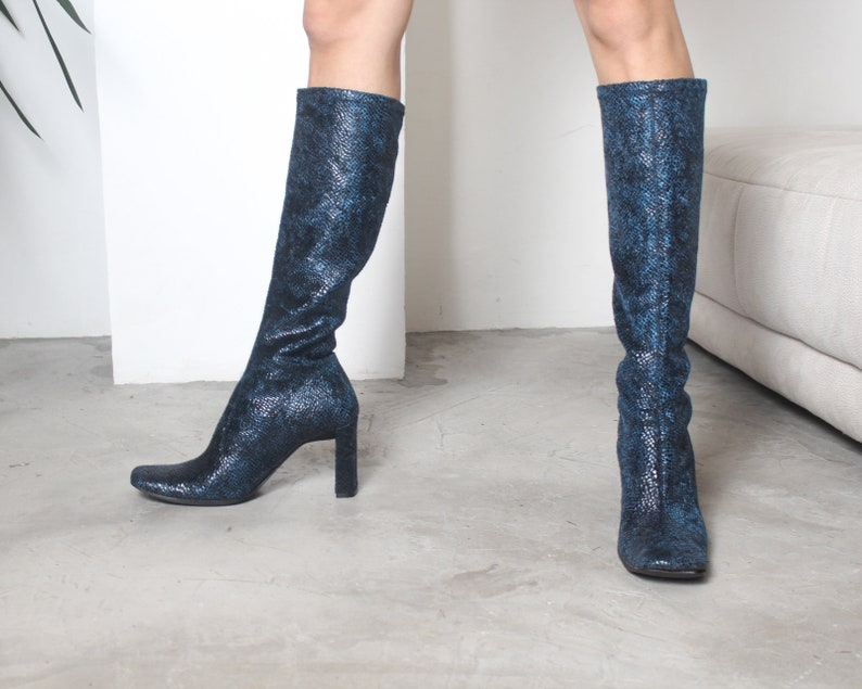 y2k blue snakeskin square toe pull on knee high boots