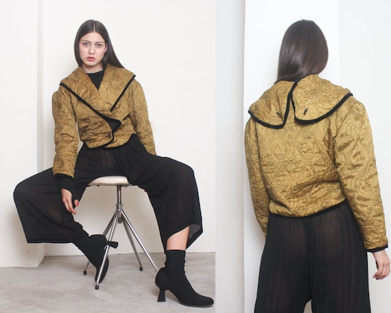 80s paisley quilted pouf crop jacket