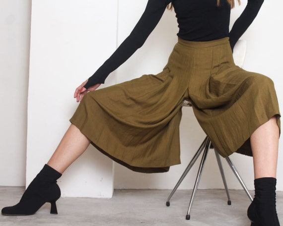 80s olive pleated culottes pants m