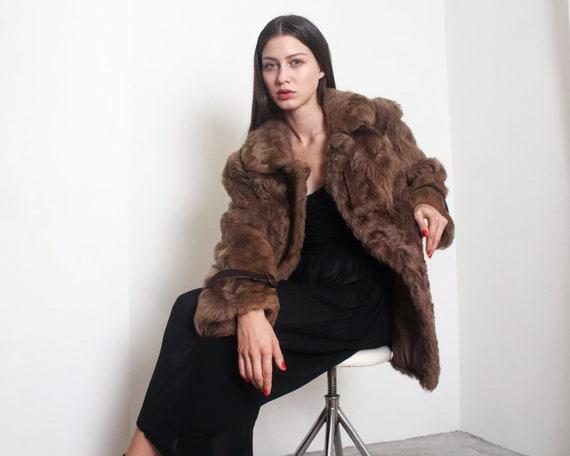 70s taupe curly lamb fur coat