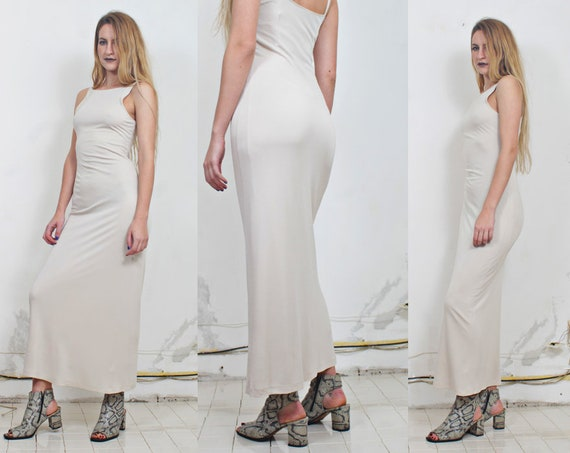 90s eggshell white minimal maxi dress gown