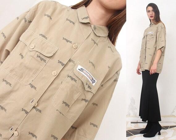 krizia khaki oversized logo print button up tunic