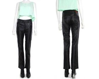 Vtg 90s Black Splatter Shinny Club Kids Skinny Jeans Pants Leggings S-M