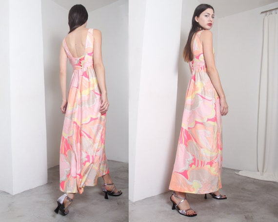 60s pink psychedelic empire waist maxi dress gown