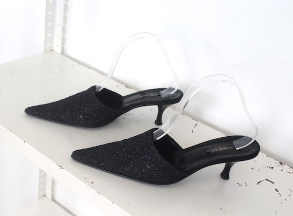 90s black glitter pointed mules 39 - image 7