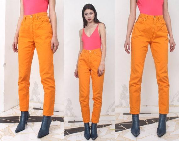 90s neon orange high waist jeans