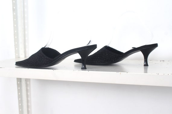 90s black glitter pointed mules 39 - image 2