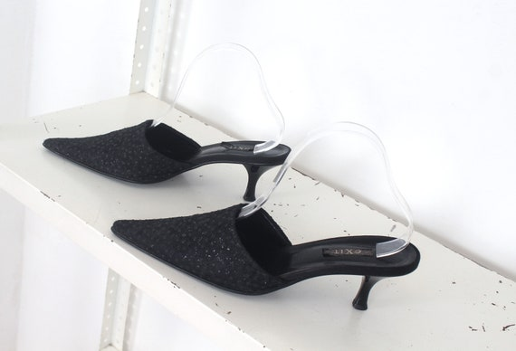 90s black glitter pointed mules 39 - image 3