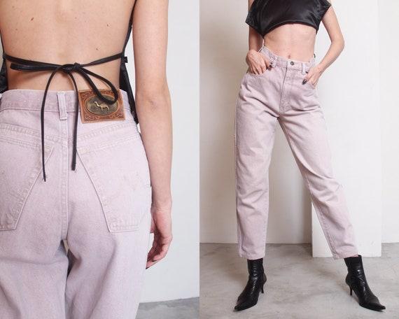 90s camel cigarettes beige high waist mom jeans