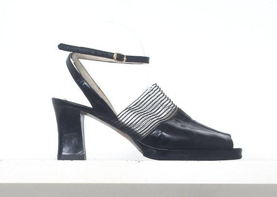 70s patent leather mesh platform sandals