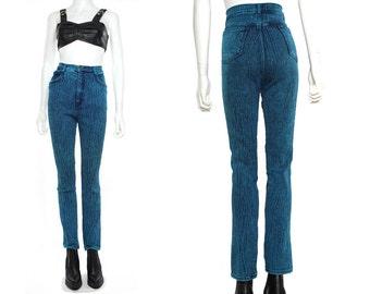 Vtg 80s 90s Blue Acid Wash High Waist Skinny Jeans Pants Leggings M-L