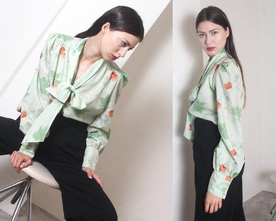 70s mint poppy flower bow ascot blouse