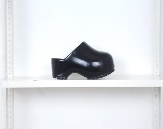 70s black patent leather famolare chunky cyber clo