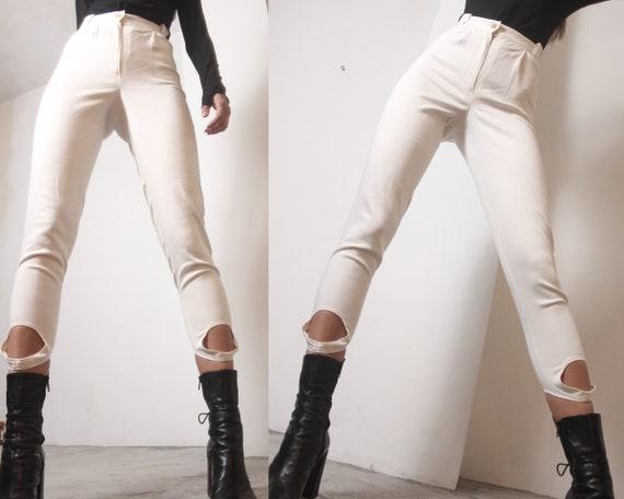 90s ivory denim high waist stirrup jeans leggings