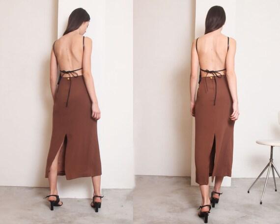 90s brown slits minimal maxi skirt - image 3