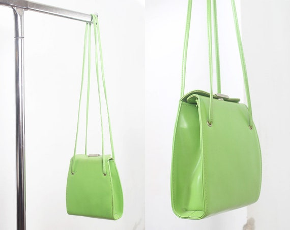 lime green leather shoulder bag