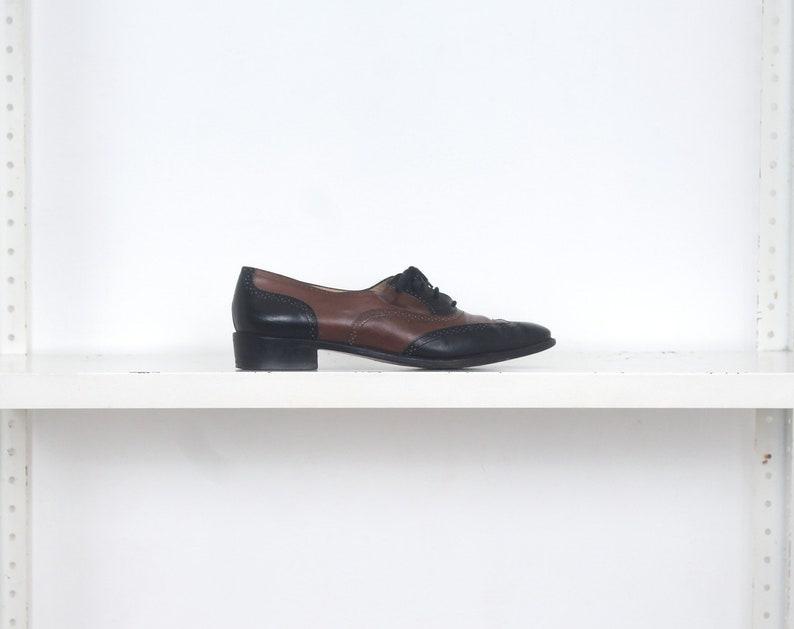 d6509496842bf Black brown Salvatore Ferragamo lace up spectators shoes 9 | Etsy