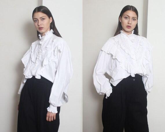 white ruffle blouse os - image 3