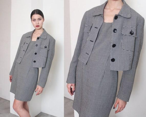 90s b&w houndstooth dress suit set