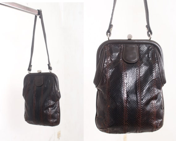 brown snakeskin leather purse