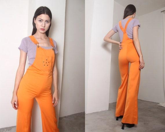 90s orange palazzo overalls
