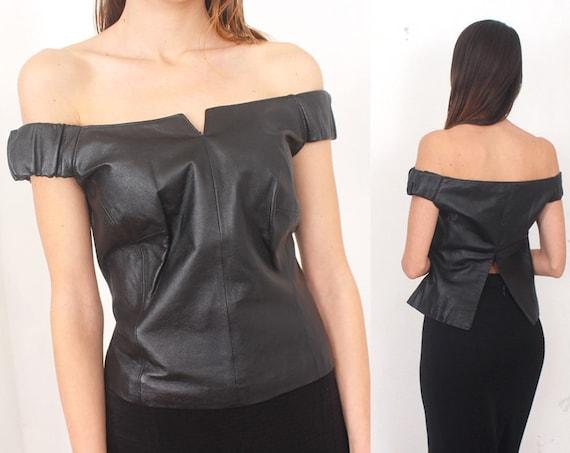 6f5e1d4b0c69f8 Black leather off shoulder top
