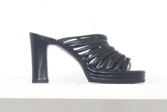 70s patent strappy cage platform mules 38