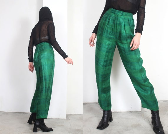 80s green plaid linen high waist trousers pants - image 2